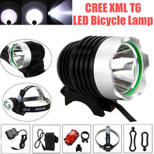 Rechargeable 5000LM CREE XML T6 LED Headlight Bicycle Bike Head Lamp+Rear Light