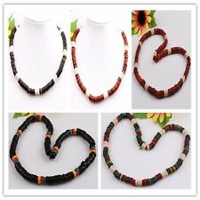 """Assorted Mixed Colors Handmade Coconut Shell Puka Coin Bead Necklace 17""""L OPTION"""