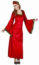 SEXY WOMEN NOBLE LADY COSTUME MEDIEVAL RENAISSANCE TUDOR DEEP RED FANCY DRESS