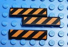 LEGO Decorated Tile, 1 x 4 with Black and Orange Danger Stripes Pattern   x3PC