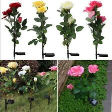 Solar Power Rose 3 LEDs Light Garden Yard Stake Path Lamp Wedding Decor 4 Colors