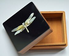 Dragonfly Multi Shell Inlay Wooden Jewellery Box / Trinket Box. Huge Saving