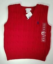 NWT Ralph Lauren Toddler Classic Cotton Cable Knit Sweater Vest Red 18 & 24 M