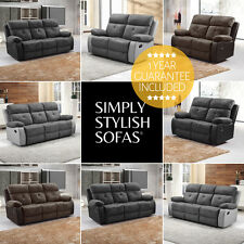 ANTRIM Faux Suede Recliner Sofas 3 + 2 Seaters + Armchairs + 1 Year Guarantee