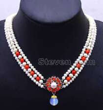"""6-7mm White Round Natural FW pearl and red coral 3 strands 18-19"""" necklace-n6080"""