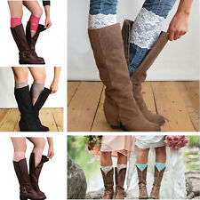 HOT Women Stretch Lace Boot Cuffs Flower Leg Warmers Lace Trim Toppers Socks