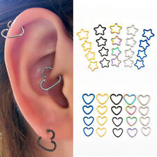 Titanium Heart/Star Ear Nose Piercing Helix Cartilage Tragus Earring Stud 16G