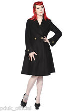 Womens New Black Banned Wool Leopard Vintage 1940s 1950s PLUS Style Winter Coat