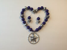 Purple and Silver tone Chunky Bubblegum Bead Western Necklace Set w/ Rodeo Star