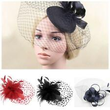 Women Ladies Fascinator Feather Hat Party Wedding Hair Clip Headpiece Pin
