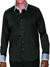 Mens 100% cotton dress shirt double layered collar,Italian Design Black/Gray 605