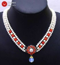 "SALE 6-7mm White Round Natural freshwater pearl 3 strands 18-19"" necklace-ne6080"