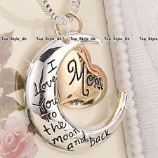 Rose Gold Love Charm Heart & Silver Moon Necklace Xmas Mum Gifts for Her Mother