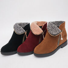 Women's Warm Martin Boots Fur Lined Suede Flat Casual Comfortable Shoes Winter
