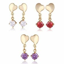 Heart Amethyst Rhinestone Stud Earrings Dangle Earings Yellow Gold Filled