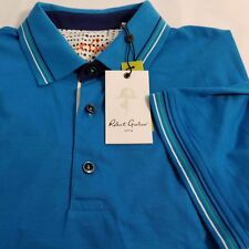 Robert Graham Sea Breeze Polo Mens Shirt Cotton Blue XL 2XL SS Blue NWT