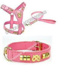 PINK REAL LEATHER DOG COLLAR LEAD AND HARNESS SET STAFFY STAFFIE STAFF BULL TERR