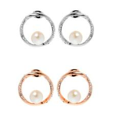 Fashion Women Rose Gold Silver Crystal Circle Ear Stud Earrings With White Pearl