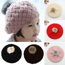Cute Baby Kids Girls Toddler Winter Warm Knitted Crochet Beanie Hat Beret Cap CH