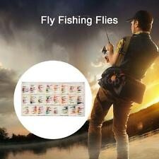 48/96pcs Fly Fishing Lure Hook Feather Bait Nymph Emerger Fly Dry Flies Hot M5Z4