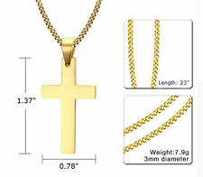 """24"""" MEN's STAINLESS STEEL Necklace Cross Pendant 3mm Cuban Link Chain"""