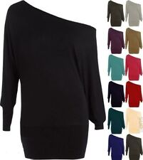 LADIES PLUS SIZE OFF SHOULDER BAGGY BATWING LONG SLEEVE SLOUCH DRESS TOP 16-32 P