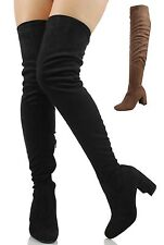 Speed Limit 98 Women's Faux Suede Over the Knee Chunky High Heel Dress Boot