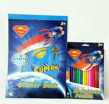 SUPERMAN / BATMAN STICKER BOOK AND SUPERMAN COLOURED PENCIL