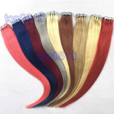 """Skin Tape In Weft Remy Human Hair Extensions Straight 18""""40g Black Brown Blonde"""
