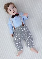 Baby Boy Wedding Tuxedo Birthday Xmas Party Moustache Suit Outfit+Braces Clothes