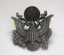 WWII US ARMY MILITARY OFFICERS CAP EAGLE BADGE INSIGNIA Silver Black