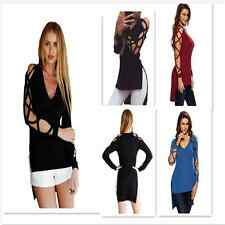 New Sexy Women Crisscross Hollow-out Long Sleeve Strappy Club Top Cold Shoulder