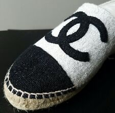 17C CHANEL SEXY ICONIC SILVER CANVAS SHIMMER LOGO ESPADRILLES 36 37 38 39 40 42