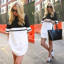 Fashion Women Short Sleeve Loose Evening Sexy Party Cocktail Mini Dress