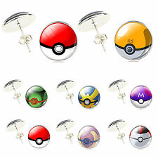 Silver Plated Glass Cabochon Pokemon Pokeball Stud Earrings Jewelry For Women