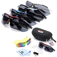 ROBESBON Polarized Cycling Sunglasses Bike Sport Glasses Goggles 3 Lens with Box