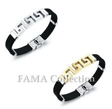 FAMA Rubber Bracelet with Stainless Steel Cut Out Greek Key Select Colour