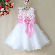 Flower Girls Princess Bow Dress Pink Wedding Bridesmaid Party Communion Pageant