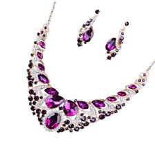 Luxury Wedding Bride Crystal Gemstone Bib Statement Necklace Earring Jewelry Set