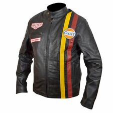New Mens Steve McQueen Le Mans Driver Grandprix Gulf Black Real Leather Jacket