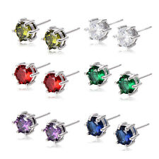 Womens Mens Punk Crystal Rhinestone Stud Earrings White Gold Filled Wholesale