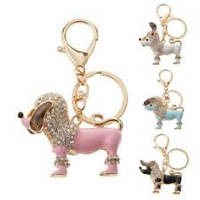Purse Handbag Car Key Chain Ring Gift Poodle Dog Keychain Charm Crystal Pendant