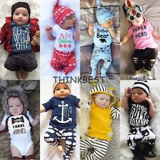 2pcs Newborn Toddler Infant Baby Boys Girl Clothes T-shirt Top+Pants Outfits Set