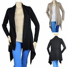 Women Thick Knit Long Slv Open Cardigan  Asymmetrical Hem Comfy Sweater Coat Top