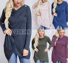 UK Womens Long Sleeve Casual Button Blouse Ladies Jumper Cardigans Top Size 6-16
