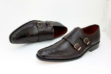 Handmade Monk Strap Crocodile Texture Eagle Wing Brown Lace up Leather Boot Men