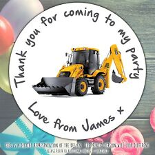 35 Personalised Digger Truck 37mm Round Stickers labels Party bag cone Thank You