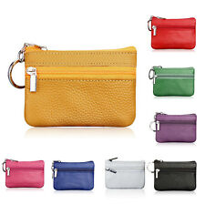 Mens Women's Card Coin Key Holder Zip Genuine Leather Wallet Pouch Bag Purse