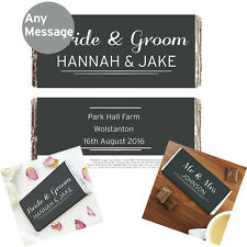 Personalised Wedding Milk Chocolate Bar Favours Any Name Any Message