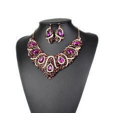 Women Wedding Crystal Rhinestone Collar Statement Necklace Earring Jewelry Set